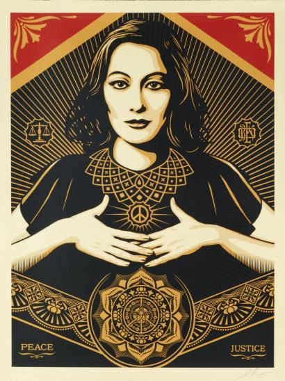 Shepard Fairey-Peace Justice Woman 2-2013