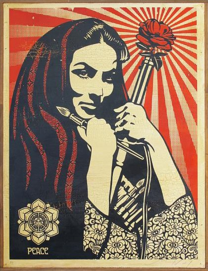 Shepard Fairey-Revolutionary Woman With Brush on Wood-2007