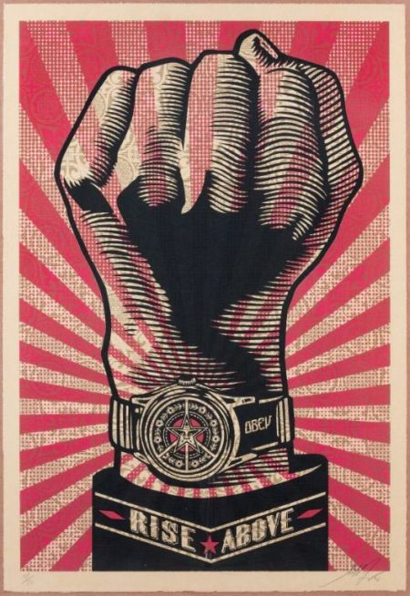 Shepard Fairey-Rise above Fist-2006