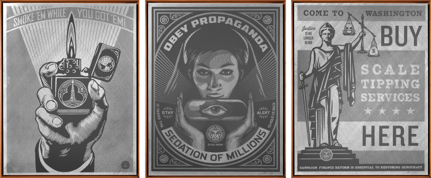 Shepard Fairey - Smoke 'Em While You Got 'Em, 2015 - Sedation Pill, 2015 - Scale Tipping Services, 2015
