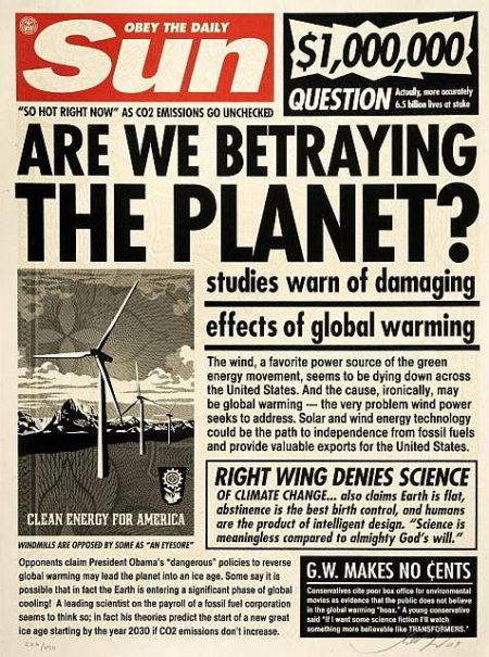 Shepard Fairey-Sun Paper Print-2009