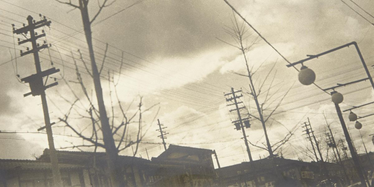 Shikanosuke Yagaki - Street scene with telephone poles and lights (Detail)