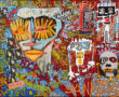 SkunkDog - Claudia 2016. Acrylic and collages on canvas, 130 x 162 cm