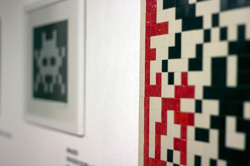 Invader. Left: Invasion Silver and Black, 2008. Right: QR Code, 2012 (detail)