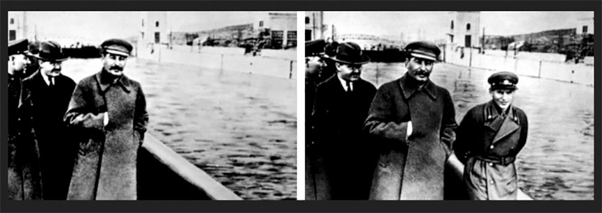 Stalin had Nikolai Ivanovich Yezhov removed from a photo after falling out of favor with him