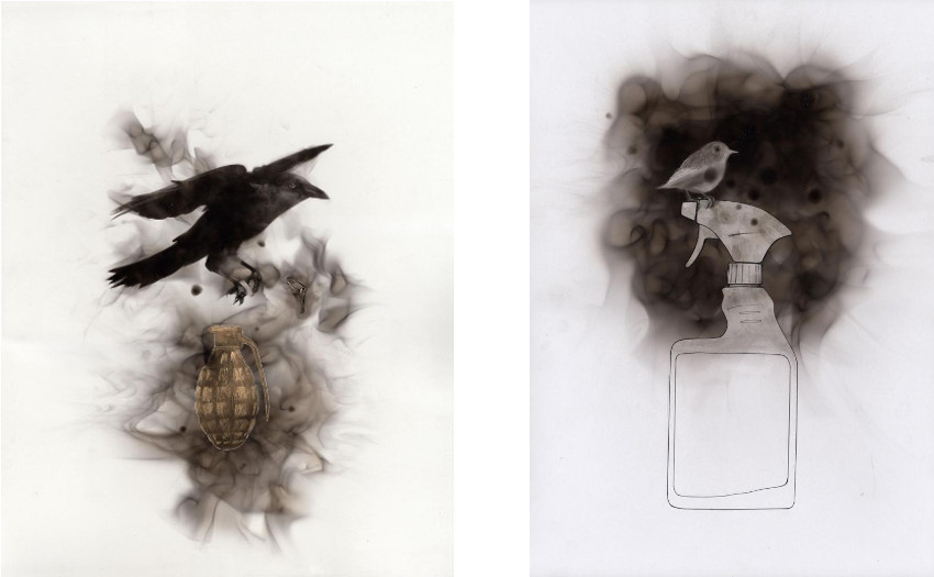Steve Spazuk -  Pin 3 (goupille 3), 2014 (Left) / The Spray, 2014 (Right) - photography - video