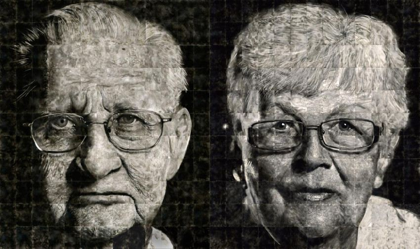 Steve Spazuk -  Portraits of artist s parents exhibited side by side - new - like