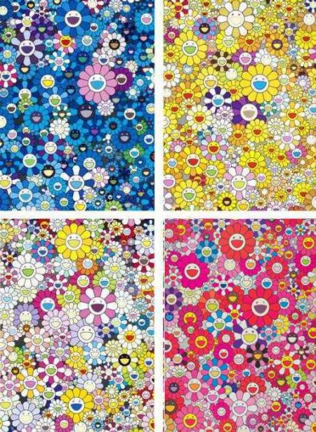Takashi Murakami-An Homage To Yves Klein Multicolor B, An Homage To Monogold 1960 B, An Homage To IKB 1957 B, An Homage To Monopink 1960 C-2012