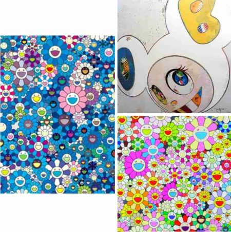 Takashi Murakami-An Homage to IKB 1957 A, And Then x6 (White-The Superflat Method, Blue and Yellow Ears), Flower Smile-2013