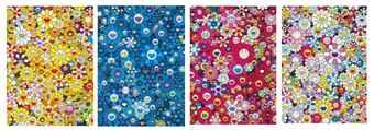 Takashi Murakami-An Homage To Monogold 1960A, An Homage To IKB 1957A, An Homage to Monopink 1960A, An Homage to Yves Klein Multicolor A-2012