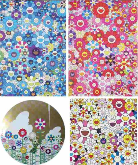 Takashi Murakami-An Hommage to Monopink, An Hommage to IKB, Floating Campsite, Flowers Blooming in This World and The Land of Nirvana-2011