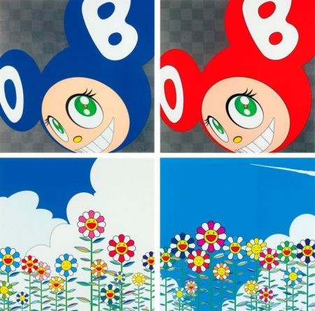 Takashi Murakami-And Then (Blue), And Then (Red), Flower 2, Flower 1-