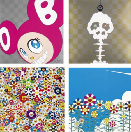 Takashi Murakami-And Then (Pink), Dokuro Yellow, Flower, If I Could Reach That Field Of Flowers, I Would Die Happy-2010