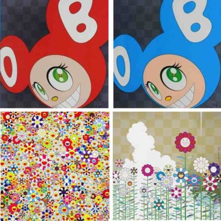 Takashi Murakami-And Then (Red), And Then (Blue), Open Your Hands Wide Embrace Happiness, Warm And Sunny Poka Poka-2010