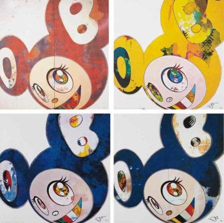 Takashi Murakami-And Then, When That's Done......I Change What I Was Yesterday Is Cast Aside, Like An Insect Shedding Its Skin; And Then, And Then And Then And Then And Then, Yellow Universe.; And Then x 6 (Blue: The Superflat Method); and And Then x6 Blue-2013