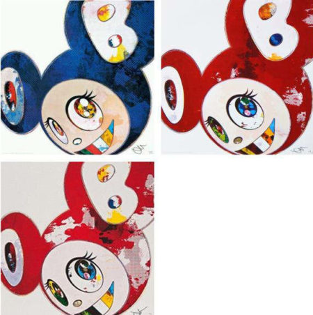 Takashi Murakami-And Then x 6 (Red, Blue - The Superflat Method, Red - The Polke Method)-2013