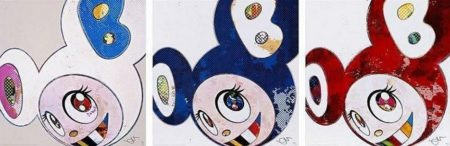 Takashi Murakami-And Then x 6 (White-The Superflat Method, Blue and Yellow Ears), And Then x 727 (Ultramarine-Gunjo), And Then x 727 (Vermillion-Shu)-2013
