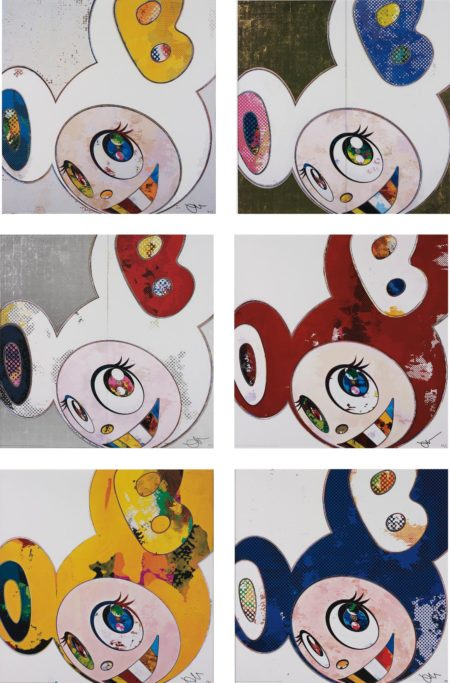 Takashi Murakami-And Then x 6 (White The Superflat Method, Blue and Yellow Ears); DOB in Pure White Robe (Pink and Blue); And Then, And Then And Then And Then And Then. Yellow Universe; DOB in Pure White Robe (Navy & Vermilion) ; And Then x 6 (Red: The Superflat Method); And Then x 6 (Marine Blue: The Superflat Method)-2013