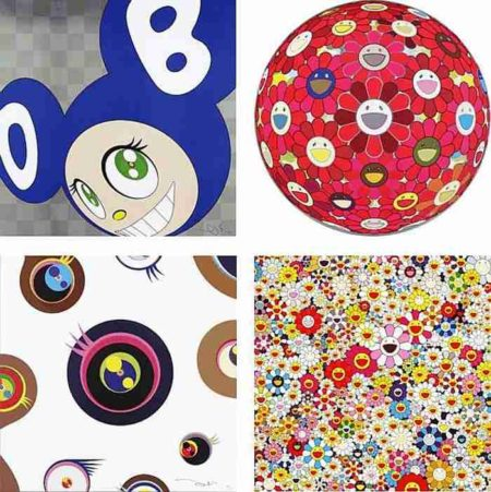 Takashi Murakami-And then (Blue), Flower Ball (3-D) Red Cliff, Jellyfish Eyes - White1, Flowers in Heaven-2011