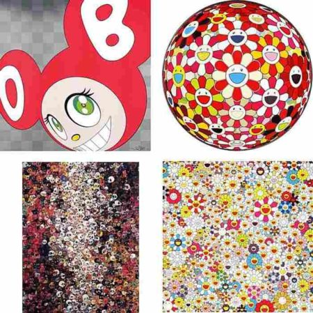 Takashi Murakami-And then (Red), Flowerball-Goldfish Colors (3D), I Know Not I Know, Field of Smiling Flowers-2011