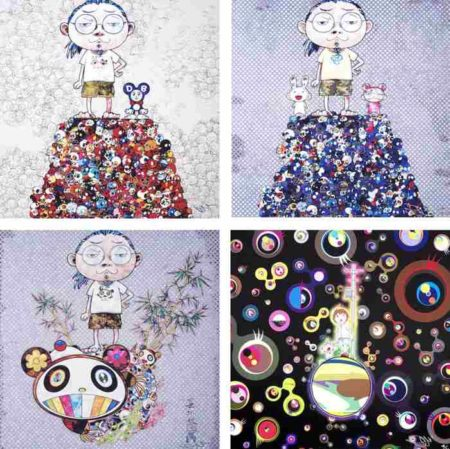Takashi Murakami-DOB and Me-On the red mound of the dead, Kaikai Kiki and Me-On the blue mound of the dead, I met a panda family, Jellyfish eyes (black)-2009
