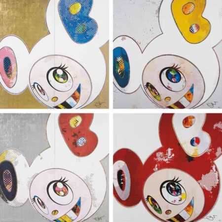 Takashi Murakami-DOB in Pure White Robe (Navy & Vermilion); DOB in Pure White Robe (Pink & Blue); And Then x6 Red; and And Then x 6 (White: The Superflat Method, Blue and Yellow Ears-2013