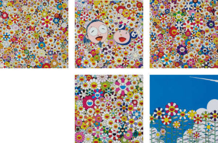 Takashi Murakami-Field of Smiling Flowers; Me and Mr. DOB; If I Could Reach that Field of Flowers, I Would Die Happy ; Maiden in the Yellow Straw Hat ; Flower-2010