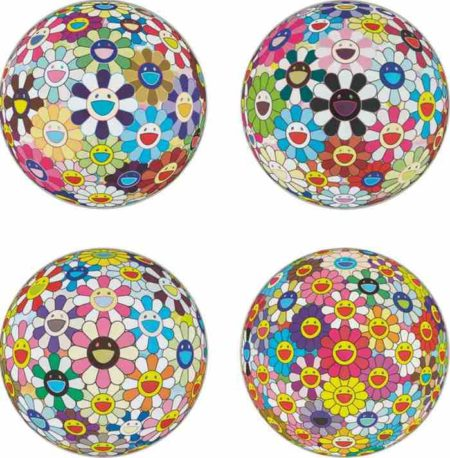 Takashi Murakami-Flower Ball (3D) Kindergarten, Flowerball Blood V (3D), Flowerball Cosmos (3D), Flower Ball (3D)-2008