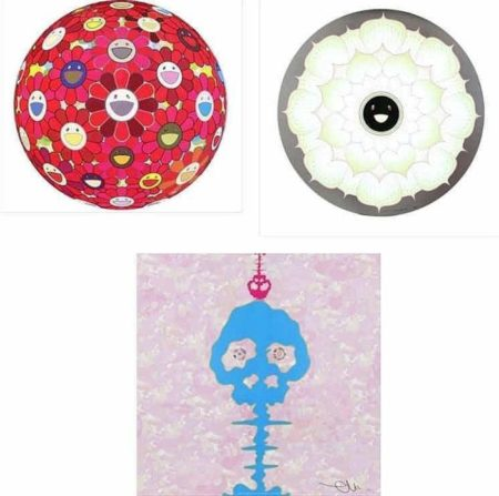 Takashi Murakami-Flower Ball (3D) Red Cliff, Lotus Flower White, Bokan - camouflage Pink-2011