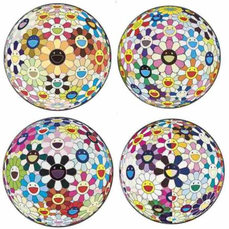 Takashi Murakami-Flower Ball (3D) Sunflower, Flower Ball (3D) Cosmos, Flower Ball (3D) Realm of the Dead, Flower Ball (3D) Blood-2011