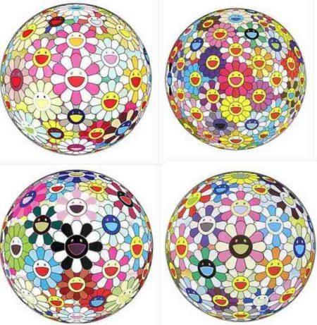 Takashi Murakami-Flower Ball Margaret (3D), Flower Ball (3D), Flowerball Blood (3D) V, Flowerball Cosmos (3D)-2011