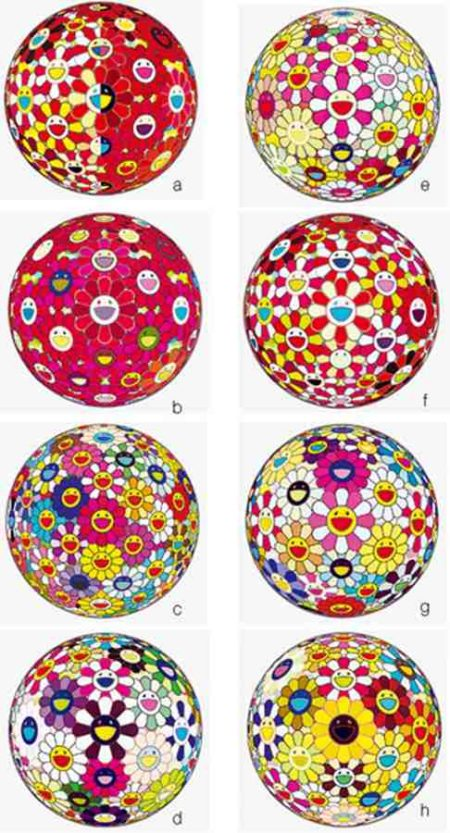 Takashi Murakami-Flower Ball Margaret (3D), Flower Ball Goldfish (3D), Flower Ball Pink, Flower Ball (3D) Sunflower, Flower Ball Red (3D) The Magic Flute, Flower Ball (3D) Red Cliff, Flower Ball (3D), Flower Ball Brown-2011