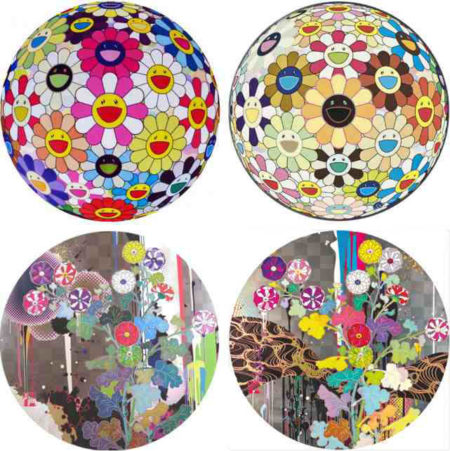 Takashi Murakami-Flower Ball Pink, Flower Ball (3D) Sunflower, With Reverence I Lay Myself Before You-Korin-Chrysanthemum, Kansei Like The River's Flow...-2010