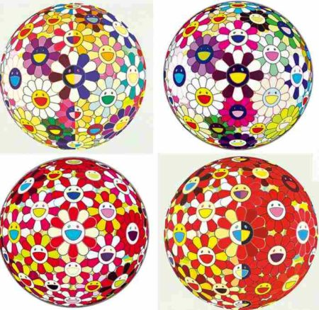 Takashi Murakami-Flower Ball Red 3d From The Realm Of The Dead, Flower Ball Brown, Flower Ball Red 3d Goldfish, Flower Ball Red 3d The Magic Flute-