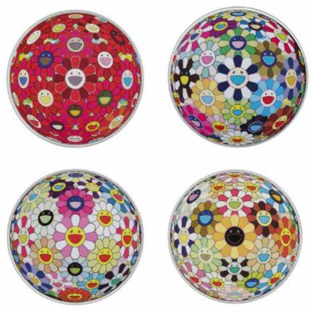 Takashi Murakami-Flowerball (3-D) Sunflower, Flowerball (3-D) Red Cliff, Flowerball (3-D) Kindergarden, Flowerball Pink-2012