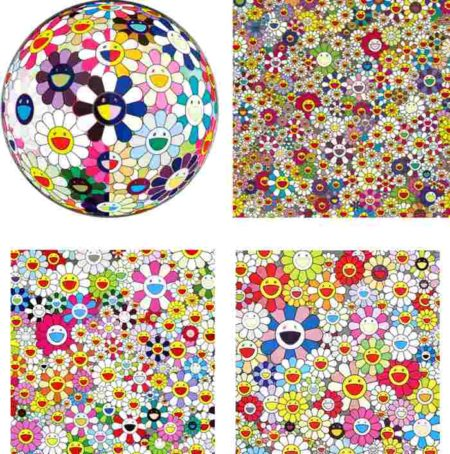 Takashi Murakami-Flowerball (3D) from the Realm of the Dead, Flowers Flowers Flowers, Maiden in the Yellow Straw Hat, Such Cute Flowers-2010