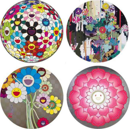 Takashi Murakami-Flowerball Blood (3D) V, I Recall The Time When My Feet Lifted Off The Ground Ever So Slightly-Korin-Chrysanthemum, Flowers For Algernon, Lotus Flower (Pink)-2009