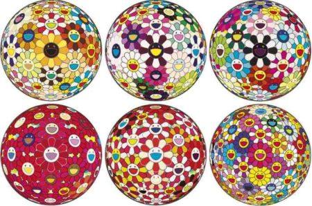 Takashi Murakami-Flowerball Brown, Flowerball Blood (3D) V, Flower Ball (3D) Sunflower, Flower Ball (3D), Flowerball - Goldfish Colors (3D), Flower Ball (3D) Red Cliff-2008