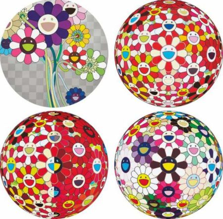 Takashi Murakami-Flowerball Brown, Flowerball - Goldfish Colors (3D), Flowerball Red (3D) The Magic Flute, Purple Flowers in A Bouquet-2010