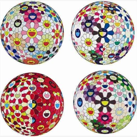 Takashi Murakami-Flowerball Brown, Flowerball Pink, Flowerball (3D) From the Realm of the Dead, Flowerball Red (3D) The magic Flute-2009