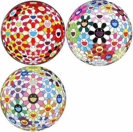 Takashi Murakami-Flowerball - Goldfish Colors (3D); Flowerball Blood (3-D) V; Flowerball Cosmos (3D)-2011