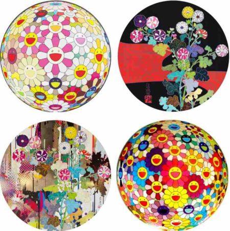 Takashi Murakami-Flowerball Margaret (3D), Kansei Korin Red Stream, Kansei Abstraction, Flowerball-2011