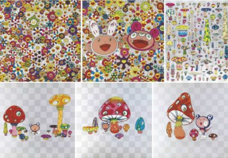 Takashi Murakami-Flowers, Flowers, Flowers, Lots of Fun, Posi Mushroom, Guru Guru,Poke!, HO YO YO-2010