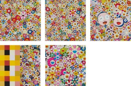 Takashi Murakami-Flowers in Heaven, Field of Smiling Flowers, Me and Mr. DOB, Acupuncture-Flower (Checkers), Flower Smile-2011