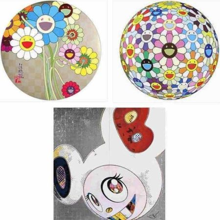 Takashi Murakami-Flowers for Algernon, Flowerball Cosmos (3D), DOB in Pure White Robe (Navy and Vermilion)-2013
