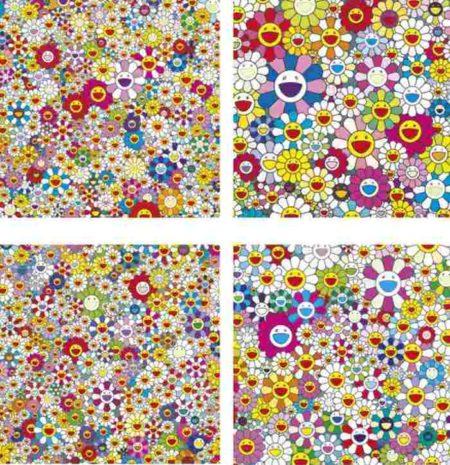 Takashi Murakami-Flowers in Heaven, Such Cute Flowers, Flowers Flowers Flowers, Maiden in the Yellow Straw Hat-2010