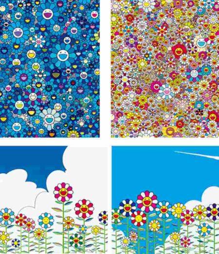 Takashi Murakami-Homage to IKB, Flower, Flower 2, Poporoke Forest-2011