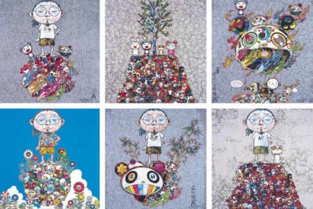 Takashi Murakami-I Met A Panda Family; Me Among The Supernatural; Me and the Mr. DOBs; Pom and Me On the Red Mound of the Dead; Chaos; Kaikai,Kiki,DOB,POM atop the Mound of the Dead-2013