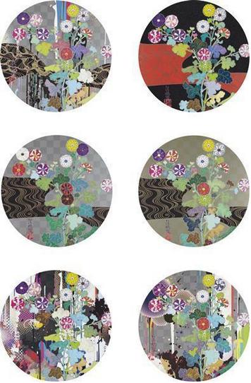 Takashi Murakami-I Lay Myself Before you, I Recall the time when my feet..., Kansei Korin Gold, Abstraction, Kansei Korin Red Stream, Kansei Like the Rivers Flow, Kansei Korin Gold-2010