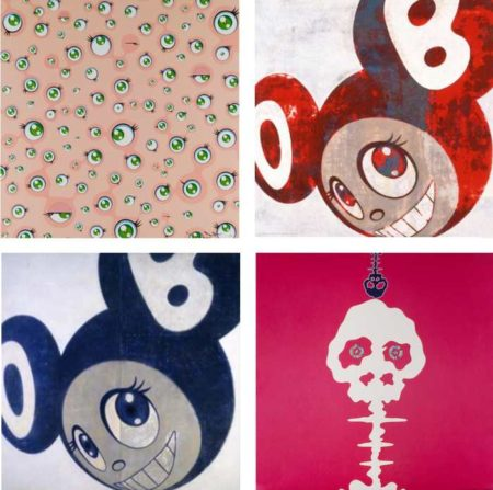 Takashi Murakami-Jelly Fish Eyes, And Then...Red, And Then...Blue, Mushroom Bomb Pink-2001